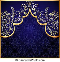 dekoratív, háttér, gold(en), páva, keret