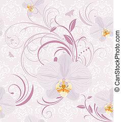 dekoratív, háttér, orhideák