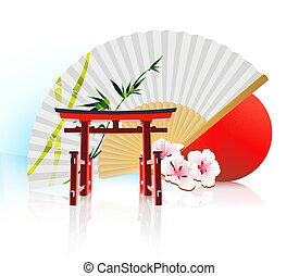 dekoratív, hagyományos, japán, háttér
