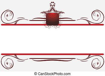dekoratív határ, helyett, card., cím
