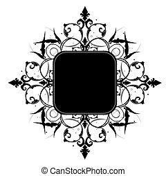 dekoratív, image., hely, szöveg, keret, editable, -e, vektor, vagy