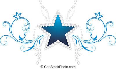 dekoratív, jelkép, star., csillogó