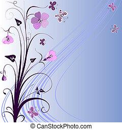 dekoratív, kék, keret, virágos