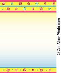 dekoratív, kék, sárga, floral határ, rózsaszínű