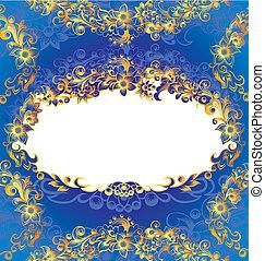 dekoratív, kék, virágos, keret