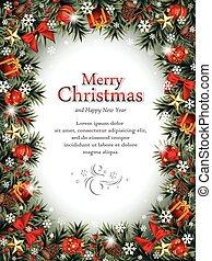 dekoratív, karácsony, keret