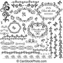dekoratív, keret, esküvő