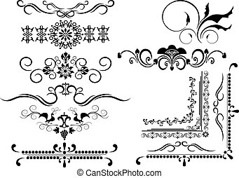 dekoratív, keret, határ, ornamen