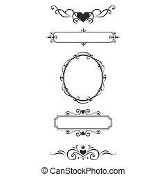 dekoratív, keret, határ, set.