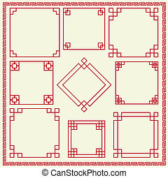 dekoratív, keret, kínai