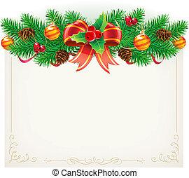 dekoratív, keret, karácsony