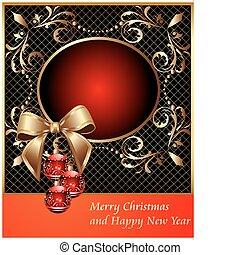 dekoratív, keret, labda, karácsony, íj