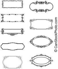 dekoratív, keret, vektor, motívum