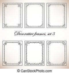 dekoratív, keret, vektor