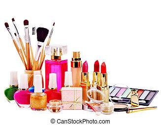 dekoratív, kozmetikum, és, perfume.