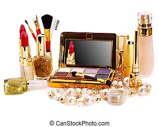 dekoratív, kozmetikum, helyett, makeup.