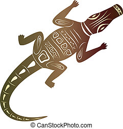 dekoratív, krokodil, white háttér