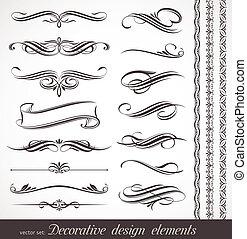 dekoratív, lakberendezési tárgyak, alapismeretek, &, vektor, tervezés, oldal