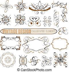 dekoratív, lakberendezési tárgyak, elements:, vektor, tervezés, oldal