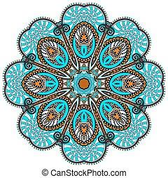 dekoratív, lelki, lótusz, jelkép, folyik, mandala, indiai, karika