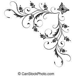 dekoratív, lepke, sarok, díszítés, virágos