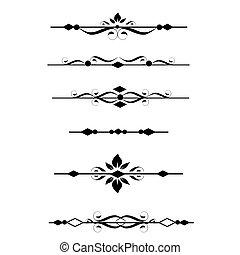 dekoratív, mérőkörző, határok, oldal
