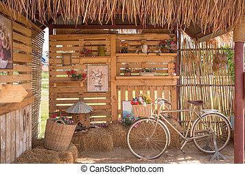 dekoratív, mód, bicikli, szüret, háttér, villaház