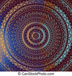 dekoratív, mandala., indiai, pattern., arany