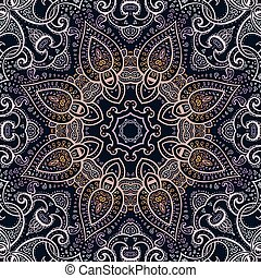 dekoratív, mandala., indiai, pattern.