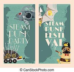 dekoratív, metszés, fantasztikus, állhatatos, keret, steampunk, pistols., festival., fém, mód, vagy, vektor, fogaskerék-áttétel, állat, ábra, fél, szalagcímek, fish, sündisznó