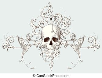 dekoratív, metszés, koponya, díszítés, elem, szüret, barokk,...