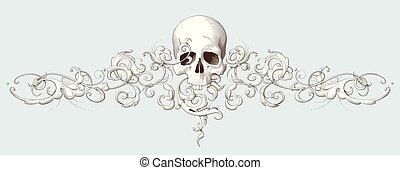 dekoratív, metszés, koponya, szüret, díszítés, elem, barokk
