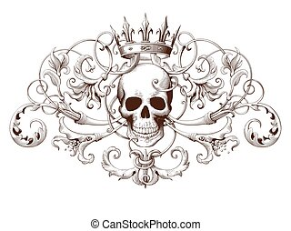 dekoratív, metszés, koponya, szüret, díszítés, elem,...