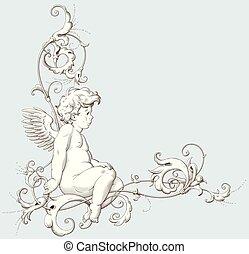 dekoratív, metszés, szüret, díszítés, ámor, elem, barokk