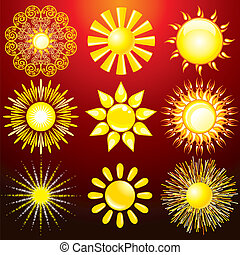 dekoratív, nap