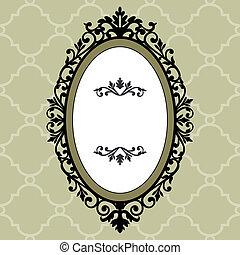 dekoratív, ovális keret, szüret