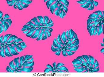 dekoratív példa, kép, leaves., seamless, tropikus, lombozat...