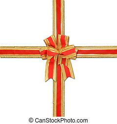 dekoratív, piros, és, gold szalag, íj