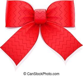 dekoratív, piros, gift., bow., elem
