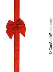 dekoratív, piros szalag, íj