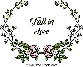 dekoratív, rózsa, love., köszönés, keret, vektor, választékos, virágos, bukás, határ, kártya