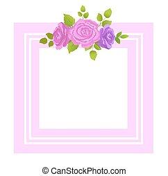 dekoratív, rózsa, zöld, zöld, menstruáció, határ