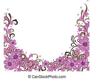 dekoratív, rózsaszínű, határ, virágos