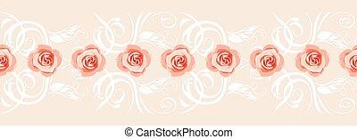 dekoratív, rózsaszínű, köszönés, agancsrózsák, határ, kártya