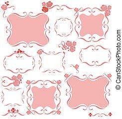 dekoratív, rózsaszínű, keret
