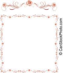 dekoratív, rózsaszínű, keret, köszönés, agancsrózsák, kártya