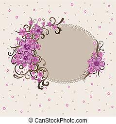 dekoratív, rózsaszínű, keret, virágos