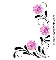 dekoratív, rózsaszínű virág, díszítés, sarok