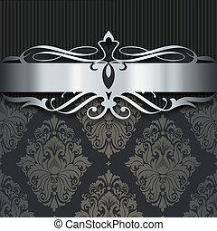 dekoratív, sötét, ezüst, háttér, border.