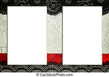 dekoratív, sablon, noha, fénykép, frames., scrapbook,...